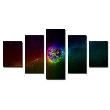 Galaxy Earth Printed Unframed Canvas Paintings - COLORFUL 1PC:8*20,2PCS:8*12,2PCS:8*16 INCH( NO FRAME )