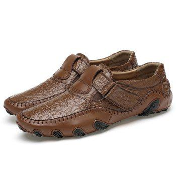 Crocodie Embossed Stitched Casual Shoes - BROWN 38
