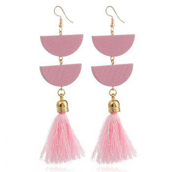 Tassel Geometric Oval Chain Hook Earrings - PINK PINK