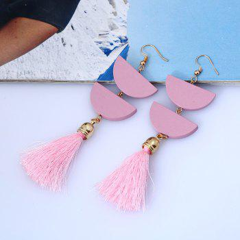 Tassel Geometric Oval Chain Hook Earrings -  PINK