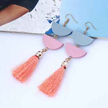 Tassel Geometric Oval Chain Hook Earrings - ORANGE