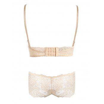 Lace Criss Cross Back Bra Set - COMPLEXION 70A