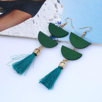 Tassel Geometric Oval Chain Hook Earrings - GREEN GREEN