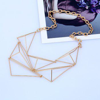 Triangle Shape Geometric Design Hollow Necklace - GOLDEN GOLDEN