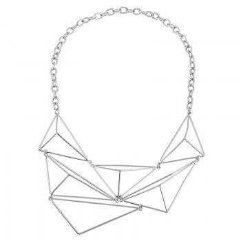 Triangle Shape Geometric Design Hollow Necklace - SILVER SILVER