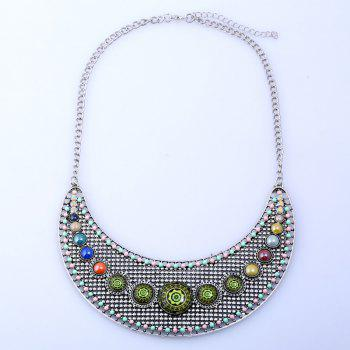 Hollow Faux Gem Beaded Rhinestone Necklace - SILVER SILVER