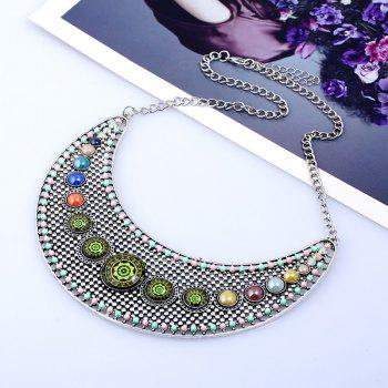 Hollow Faux Gem Beaded Rhinestone Necklace - SILVER