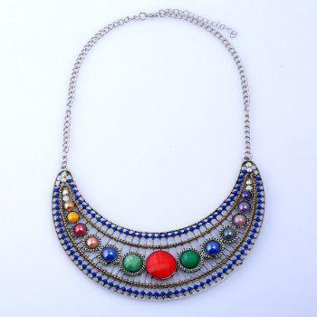 Bohemia Rhinestone Hollow Beaded Necklace - SILVER SILVER