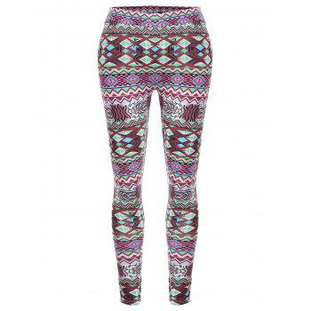 Geometric Print High Waisted Christmas Leggings - MULTI L