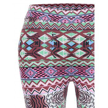 Geometric Print High Waisted Christmas Leggings - L L