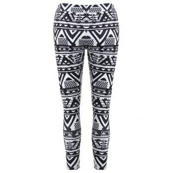 High Waisted Geometric Print Christmas Leggings - XL XL