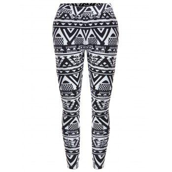 High Waisted Geometric Print Christmas Leggings - BLACK XL