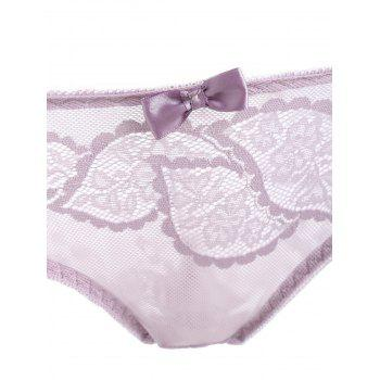 Sheer Lace Push Up Bra Set - LIGHT PURPLE 80B