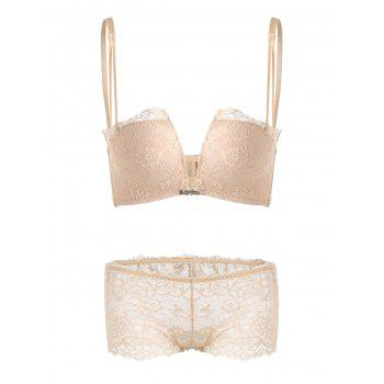 Lace Criss Cross Back Bra Set - COMPLEXION 80B