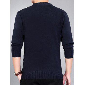 Check Pattern Crew Neck Jumper - Bleu Violet XL