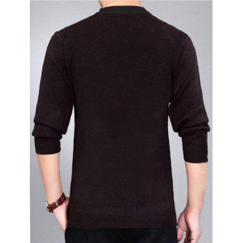 Check Pattern Crew Neck Jumper - Rouge vineux 2XL