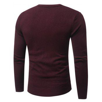 Net Pattern Crew Neck Pullover Sweater - Rouge vineux 2XL