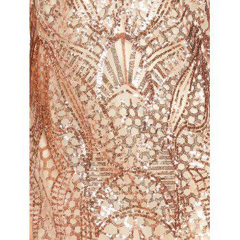 Night Out Sequins Backless Slip Dress - GOLDEN M