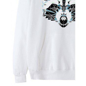 Wolf Head Print Fleece Pullover Hoodie - WHITE M