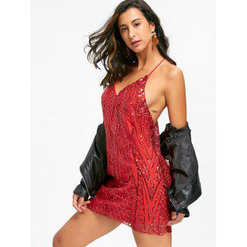 Night Out Sequins Backless Slip Dress - Rouge Clair S
