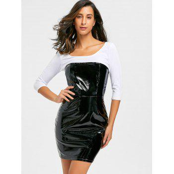 Bandeau Latex Mini Dress - BLACK BLACK
