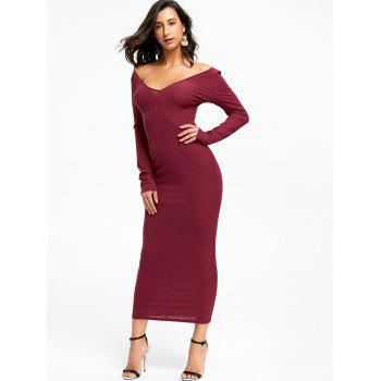 Open Shoulder Ribbed Maxi Bodycon Dress - WINE RED XL