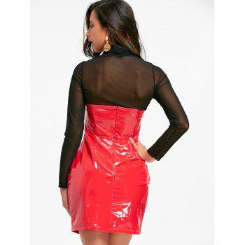 Bandeau Latex Mini Dress - RED S