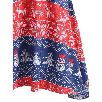 Snowman Snowflake Print Christmas Mini Swing Dress - RED RED