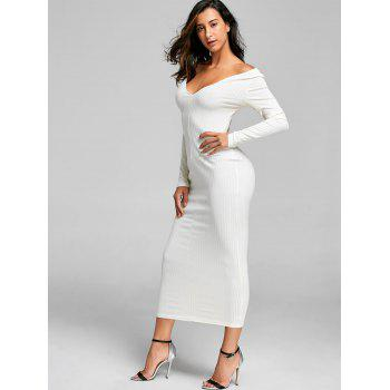 Open Shoulder Ribbed Maxi Bodycon Dress - OFF WHITE S