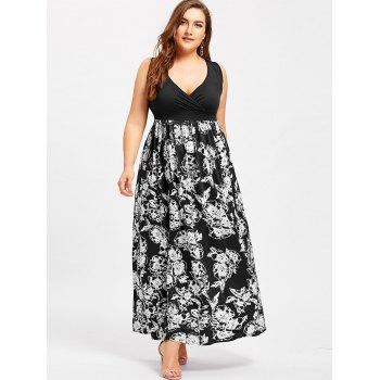 Surplice Empire Waist Flower Plus Size Dress - BLACK 5XL