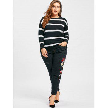 Plus Size Floral Embroidered Jeans - BLACK XL