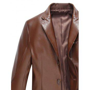 Pocket Single Breasted Faux Leather Blazer - BROWN 3XL