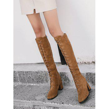 Lace Up Chunky Heel Knee High Boots - BROWN 36