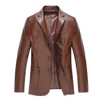 Pocket Single Breasted Faux Leather Blazer - BROWN XL