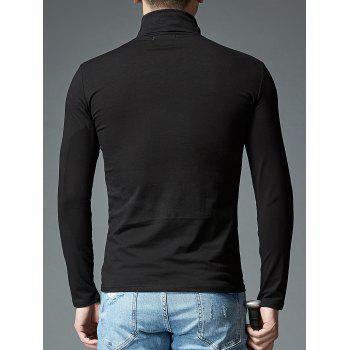Stretch High Neck Long Sleeve T-shirt - BLACK 2XL
