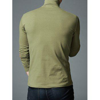 Stretch High Neck Long Sleeve T-shirt - ARMY GREEN 3XL