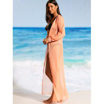 Flowy Maxi Cover Up Wrap Dress - Tangerine XL