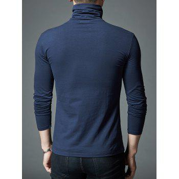 Stretch High Neck Long Sleeve T-shirt - CADETBLUE L