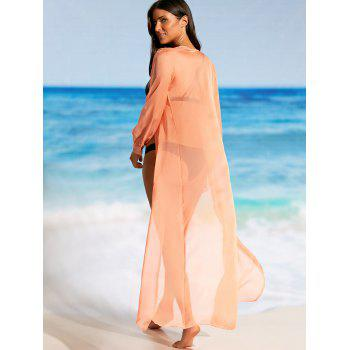 Flowy Maxi Cover Up Wrap Dress - Tangerine L
