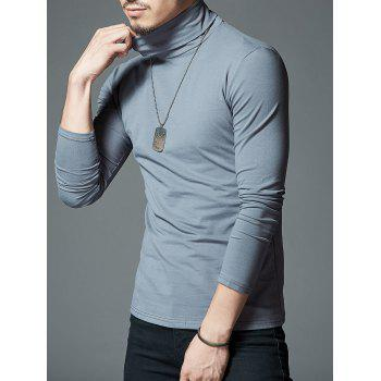 Stretch High Neck Long Sleeve T-shirt - DARK GRAY L