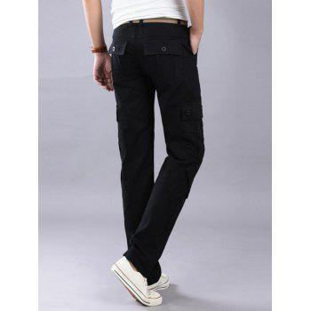Casual Zip Fly Cargo Pants with Flap Pockets - BLACK 32