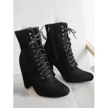 Lace Up Chunky Heel Ankle Boots - BLACK 35