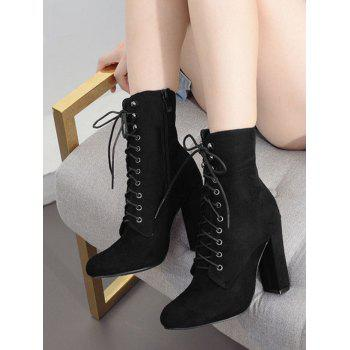 Lace Up Chunky Heel Ankle Boots - BLACK 39