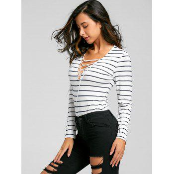 Lace Up Long Sleeve Striped Bodysuit - M M