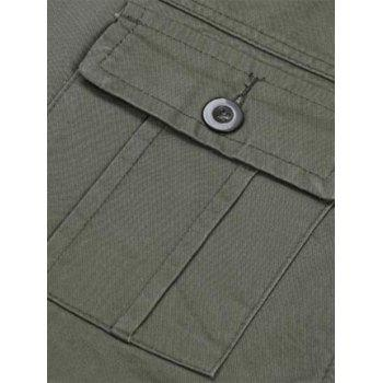 Casual Zip Fly Cargo Pants with Flap Pockets - ARMY GREEN 36