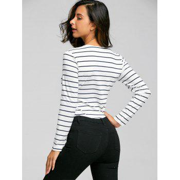Lace Up Long Sleeve Striped Bodysuit - L L
