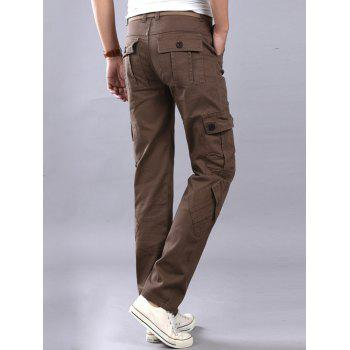 Casual Zip Fly Cargo Pants with Flap Pockets - COFFEE 34