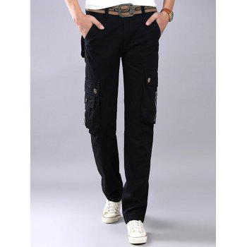 Casual Zip Fly Flap Pockets Cargo Pants - BLACK 40