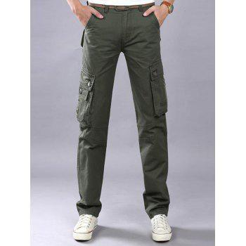 Casual Zip Fly Flap Pockets Cargo Pants - ARMY GREEN 42