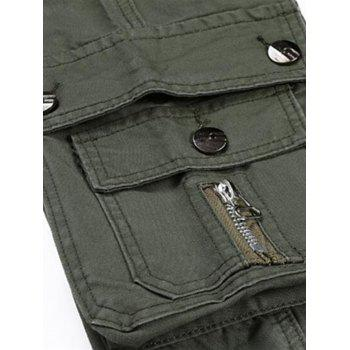 Casual Zip Fly Flap Pockets Cargo Pants - ARMY GREEN 36